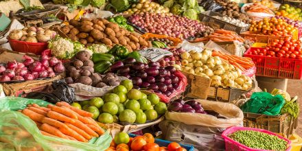 17314899 - colorful fruits and vegetables colorfully arranged at a local fruit and vegetable market in nairobi, kenya